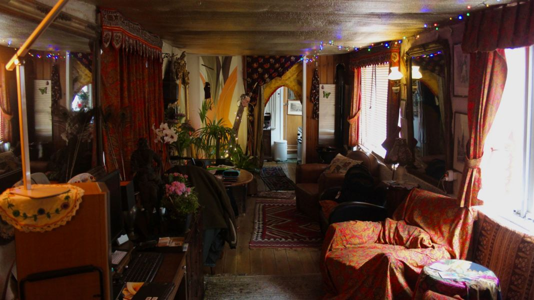The inside of our houseboat was quite Bohemian and cozy