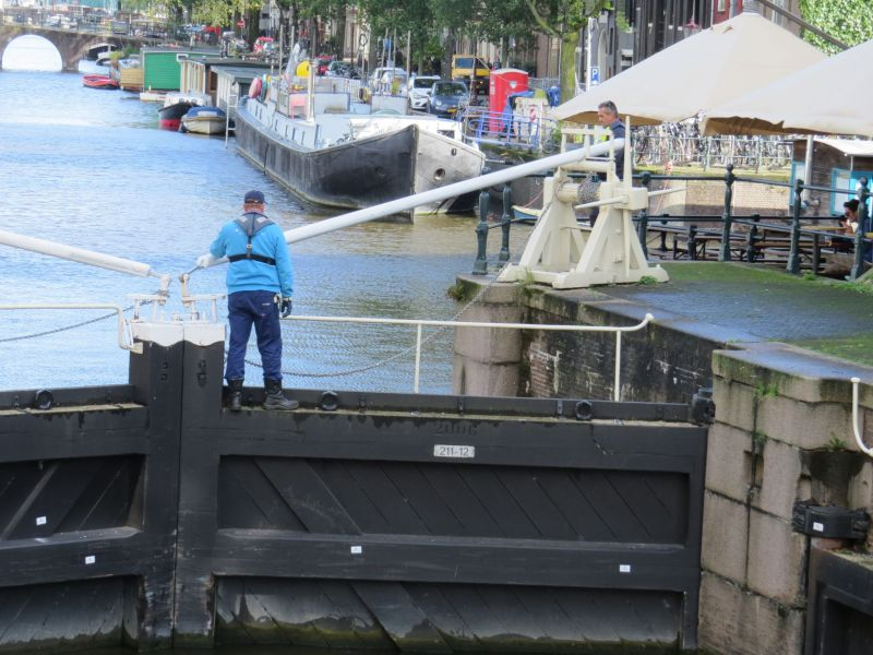 Since Amsterdam is below sea level they regulate the canals with huge locks