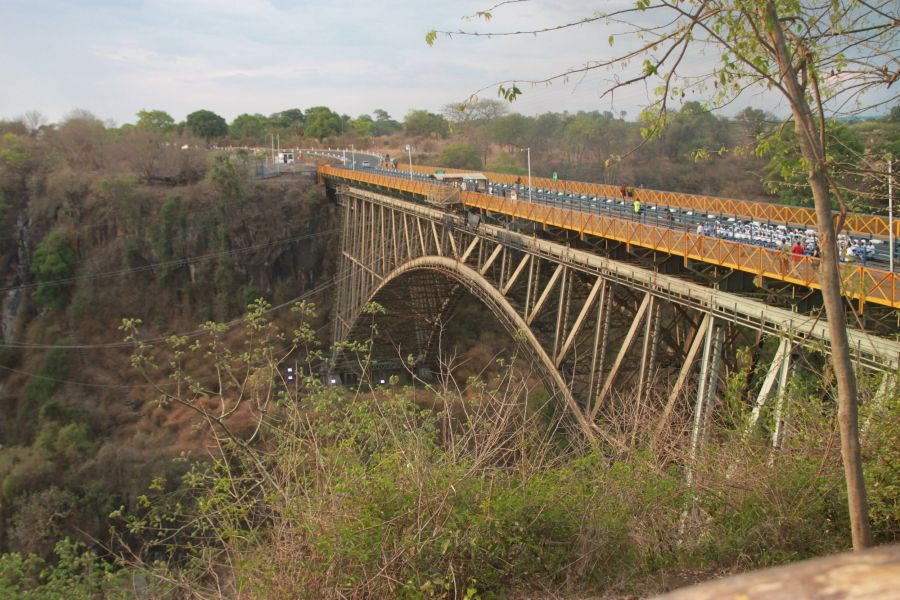 This one hundred year old bridge is the only crossing point from Zambia to Zimbabwe for over 200 miles
