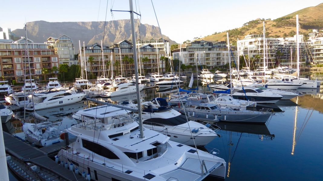 Our view of the yacht harbor and table Mountain from our hotel