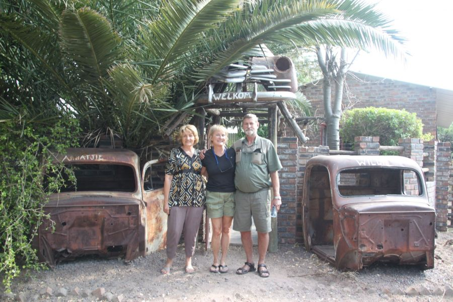 Our friends,Willie And his wife Annatje In front of their unique home in Gabrone, Botswana