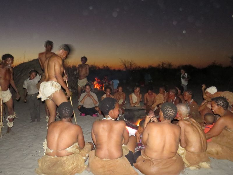 As the sun set in the West are bushman friends performed the dances of their forefathers
