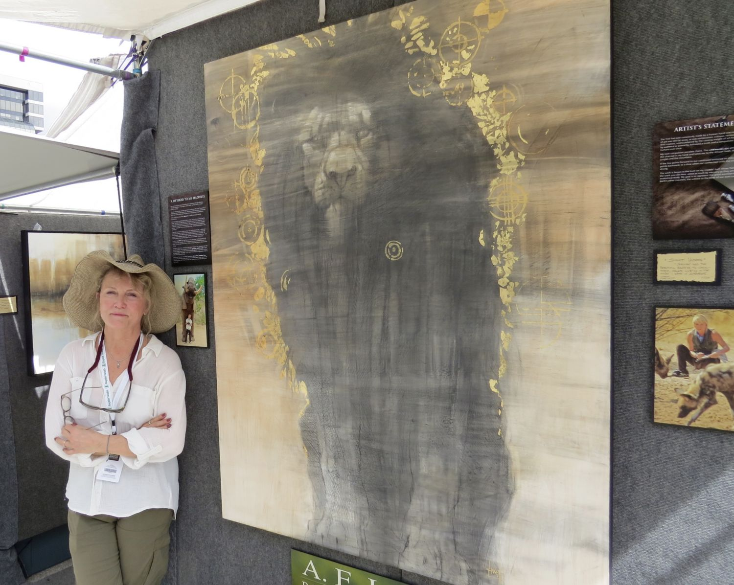 Working with gold leaf- this was my statement on trophy lion hunting