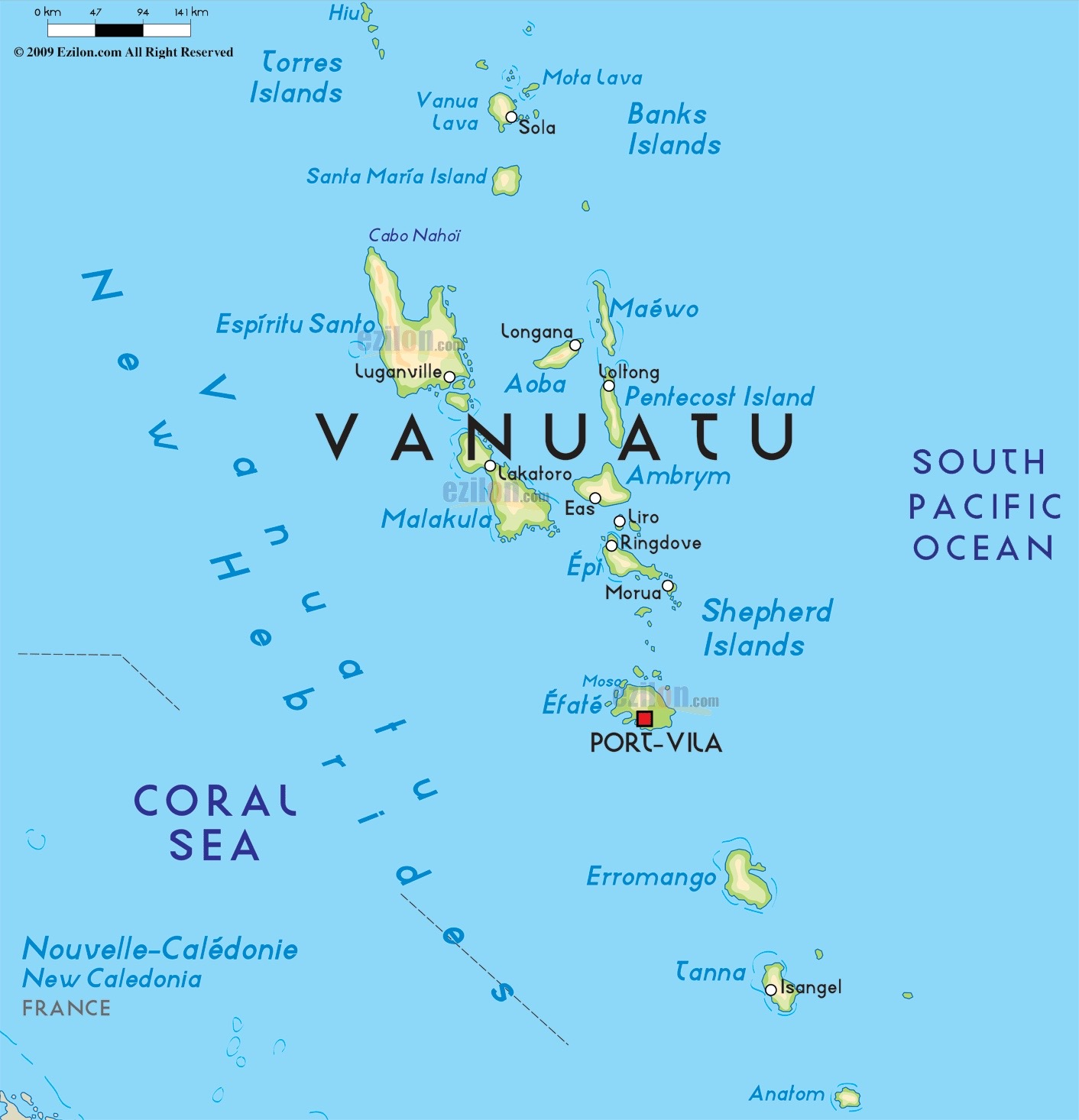 Vanuatu  is off the coast of New Guinea, about a three-hour flight north of New Zealand